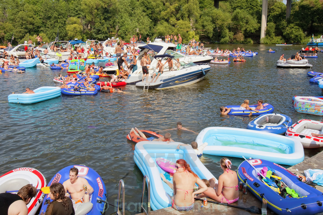 """Sweden, Stockholm - Boat Party at Hornsbergs Stranpark in Summer"" stock image"