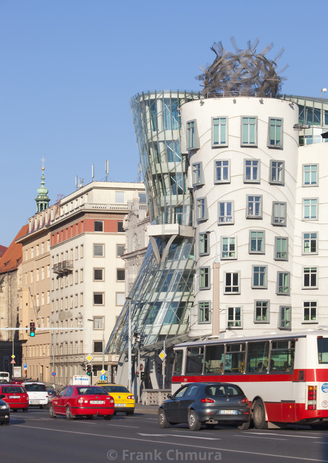 """Czech Republic, Prague - Dancing House and traffic."" stock image"