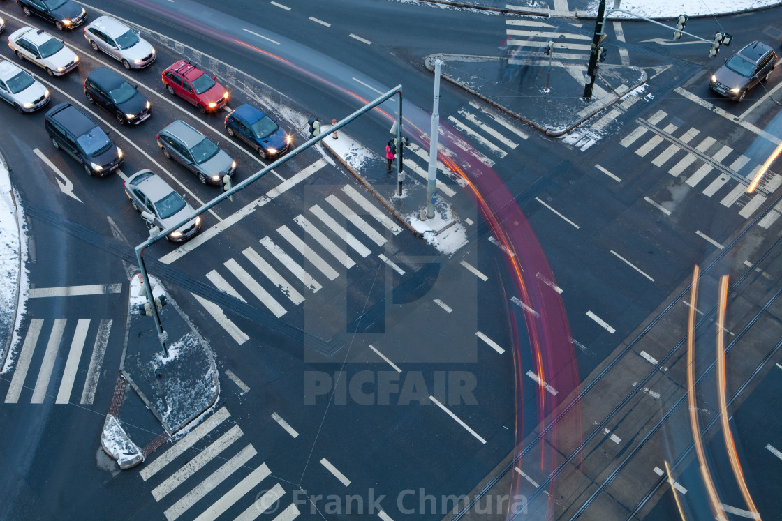 """Traffic at crossroads"" stock image"