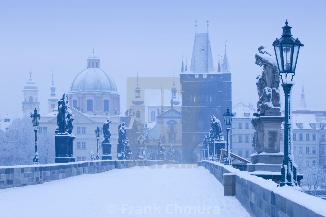 """Prague - Charles Bridge in winter"" stock image"