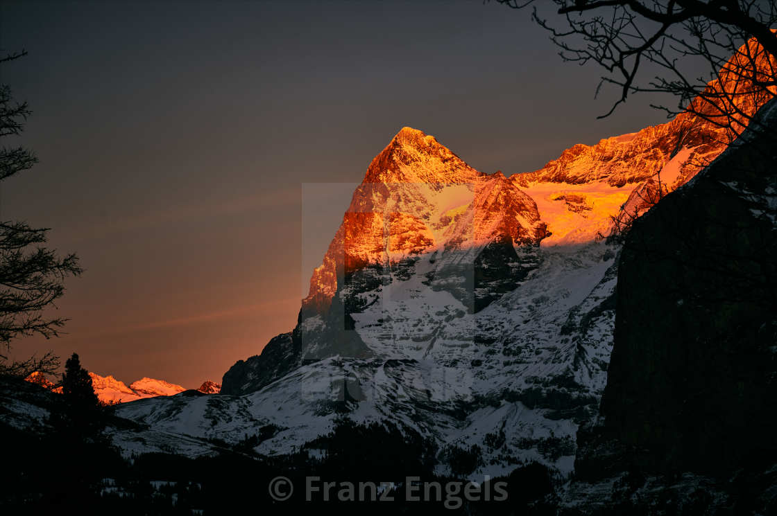 """""""Alpenglow at Mt. Eiger (Bernese Oberland)"""" stock image"""