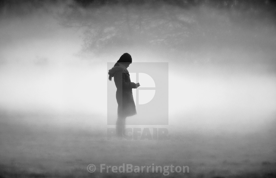 """Girl in the Mist"" stock image"
