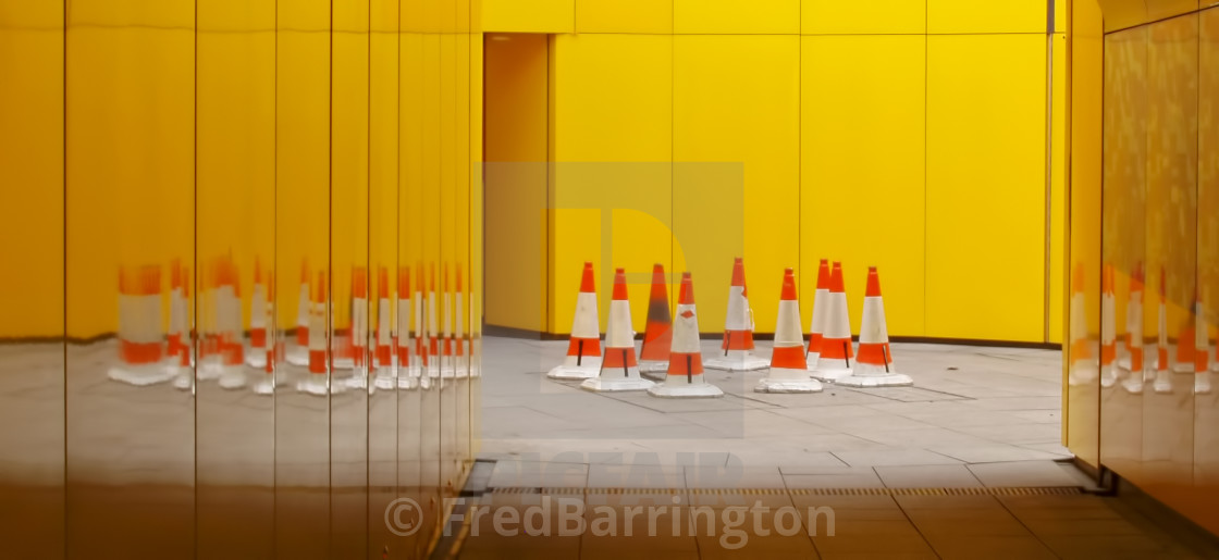"""Cones in tunnel leading to Paddington Basin"" stock image"