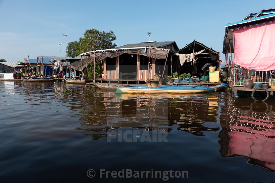 """Floating Village, Tonle Sap"" stock image"