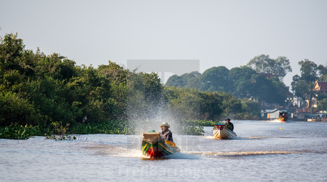 """Commuting on Tonle Sap (motorised)"" stock image"