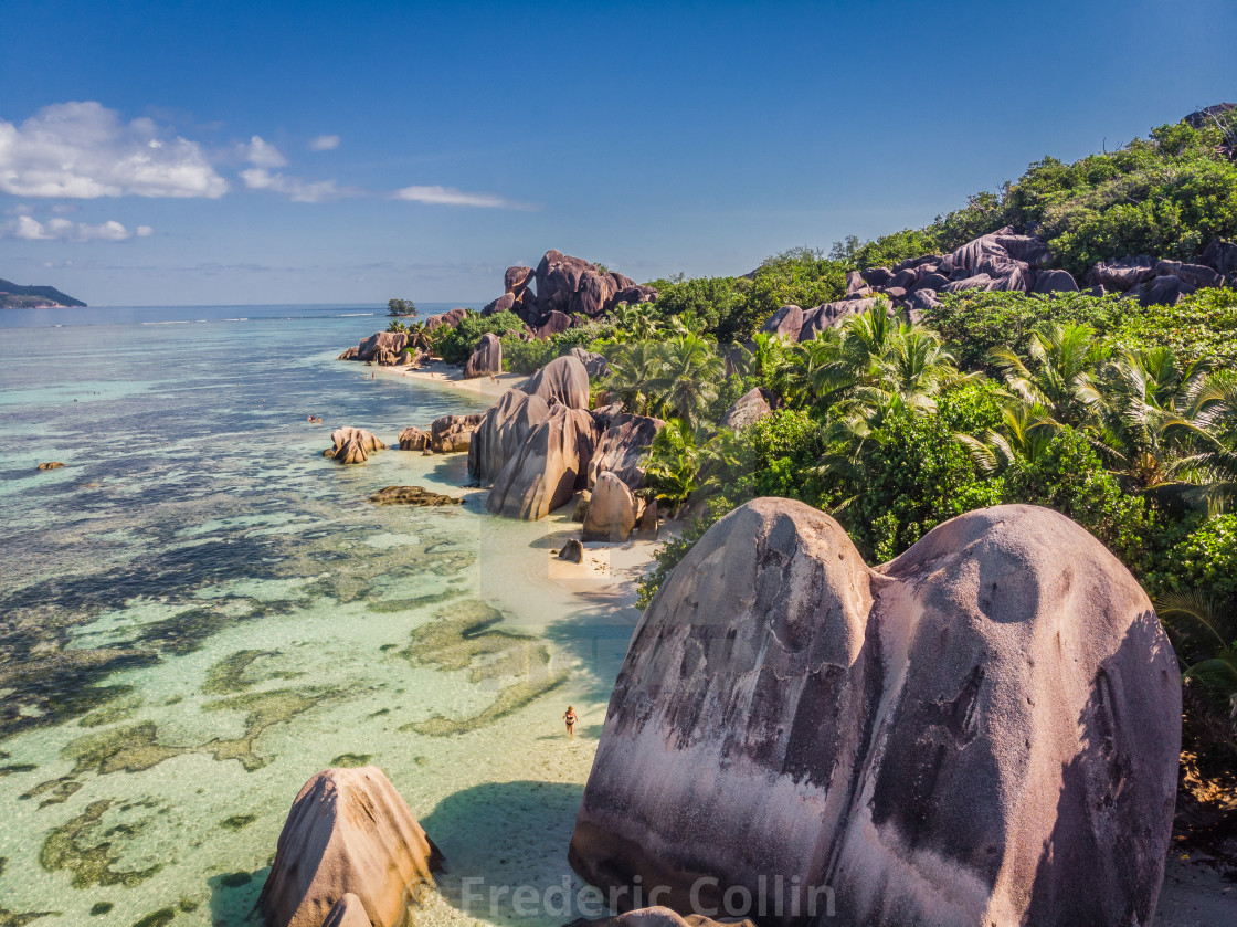 """Anse Source d'Argent taken from a drone"" stock image"