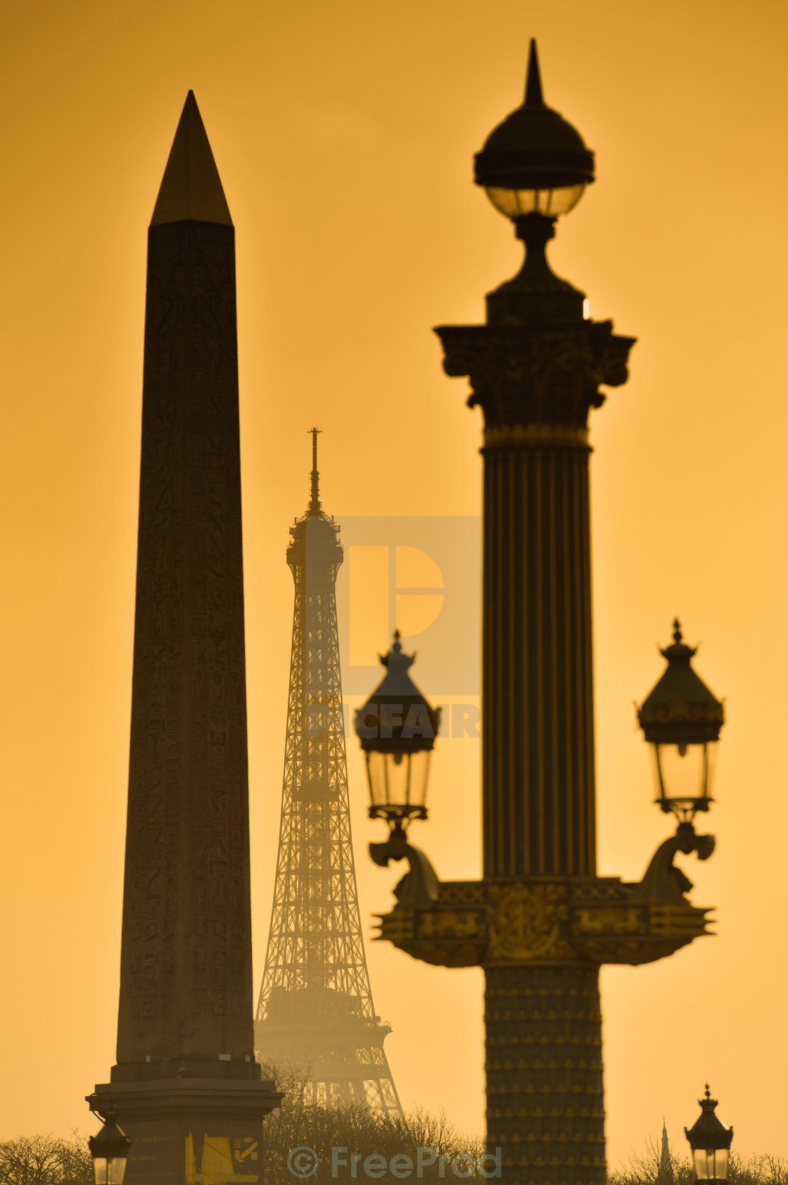 """Eiffel Tower and Place de la Concorde"" stock image"