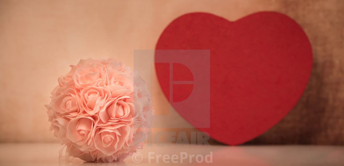 """""""Valentine's setting with bouquet of roses"""" stock image"""