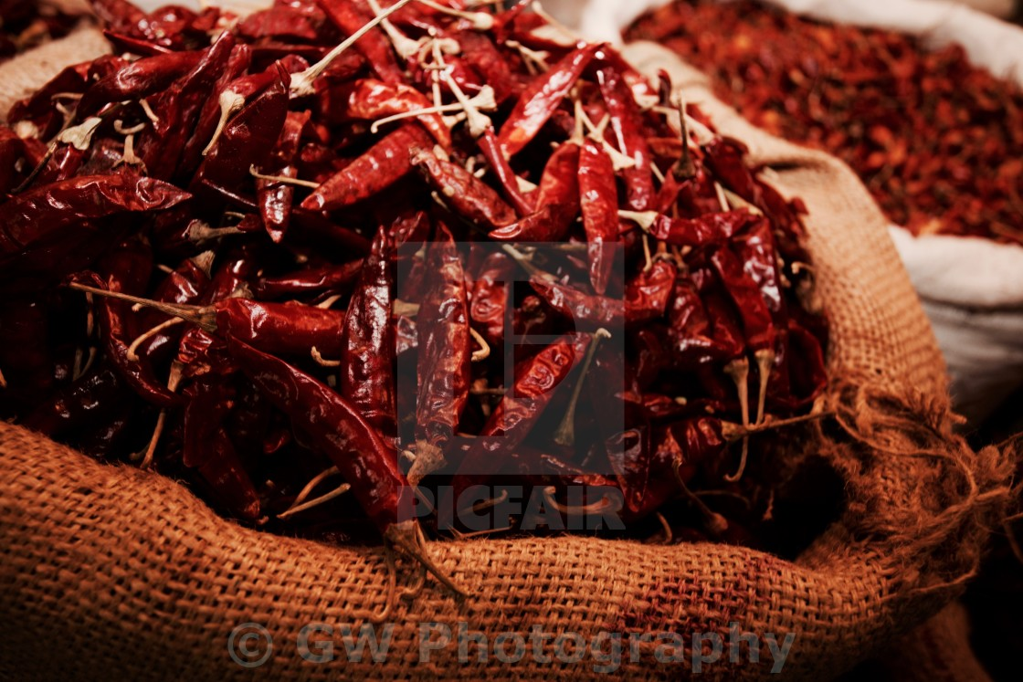"""Bag of Red Chilli Peppers"" stock image"