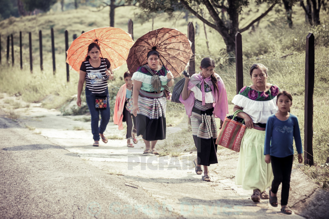 """A single file of indigenous women walking in the road in San cristobal de las casas, Mexico"" stock image"