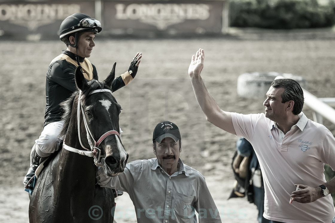 """A jockey on horseback gives a high 5 to the horse owner"" stock image"