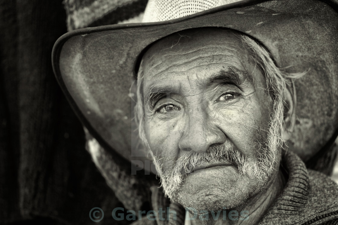 """Portrait of an elderly indigenous man in black and white, in mexico"" stock image"