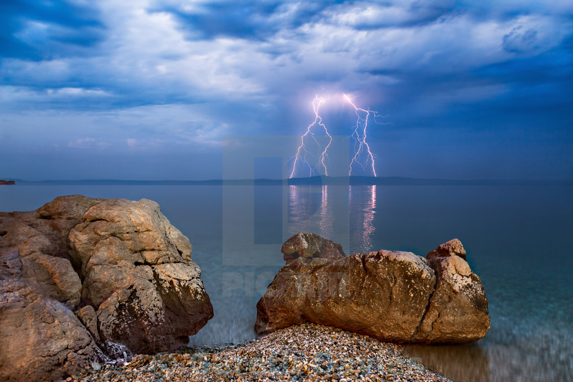 """Electric storm over Hvar Island from Tucepi, Croatia."" stock image"