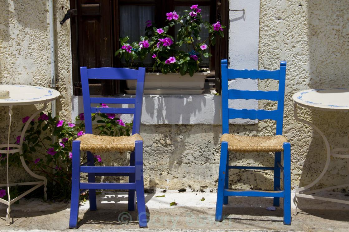 """Greek Chairs Stoupa"" stock image"