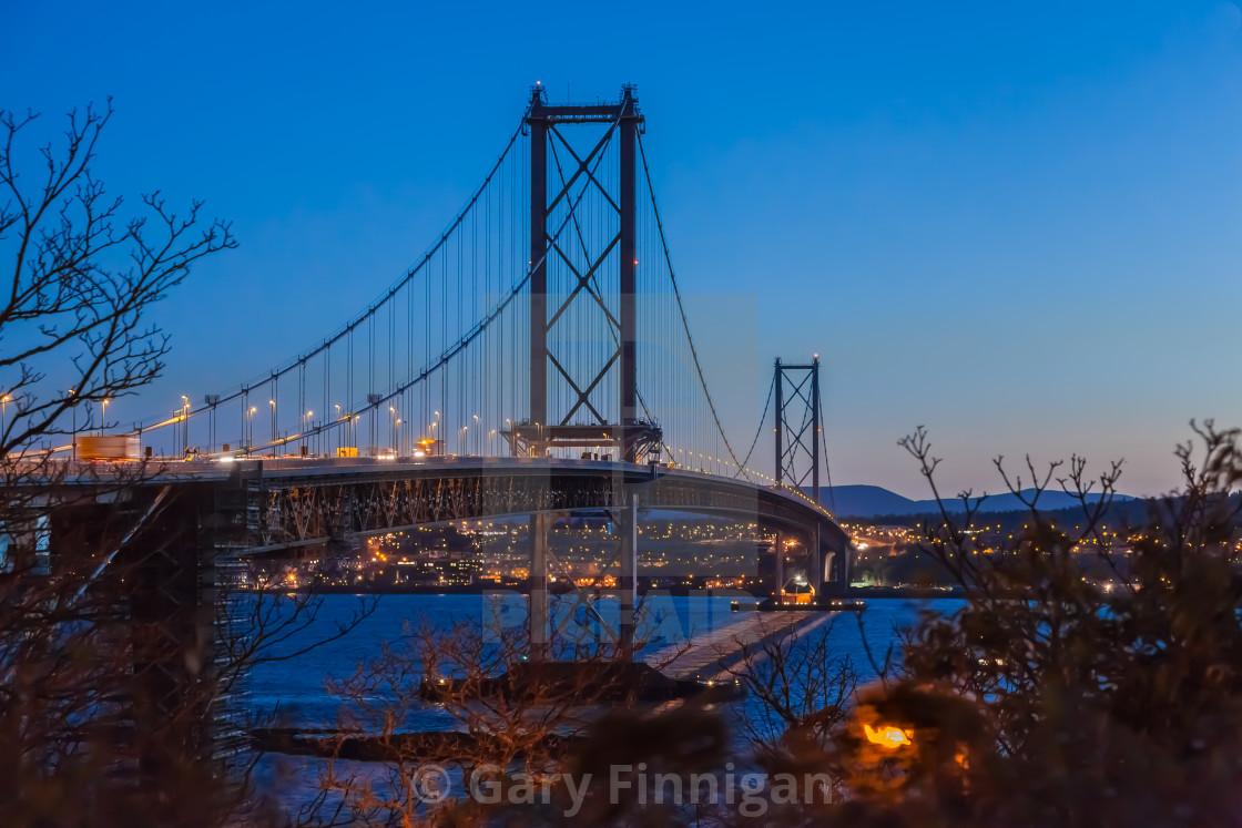 """Forth road bridge at sunset"" stock image"