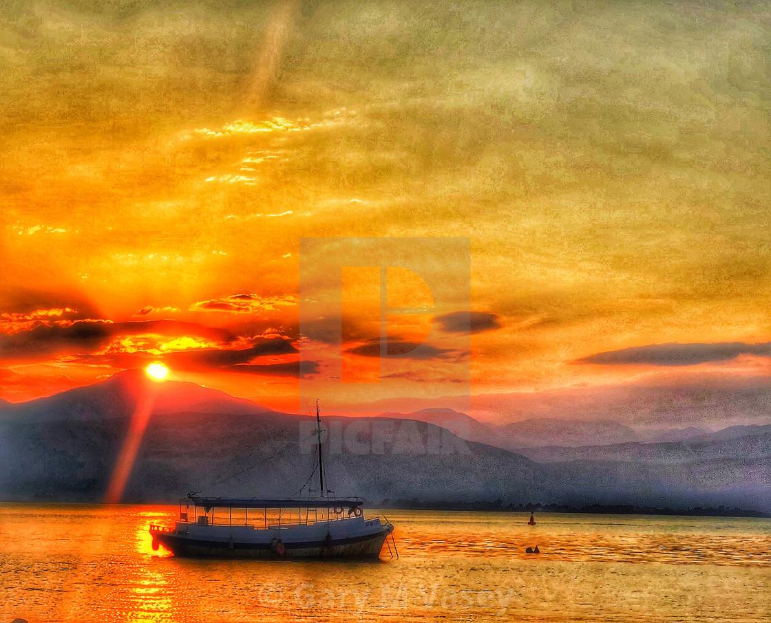 """Greek Sunset"" stock image"