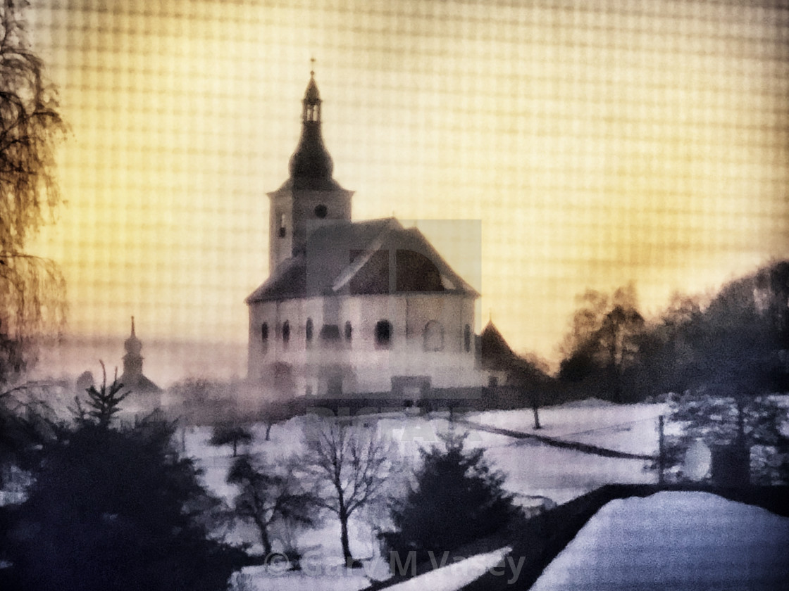 """The church on a hill"" stock image"