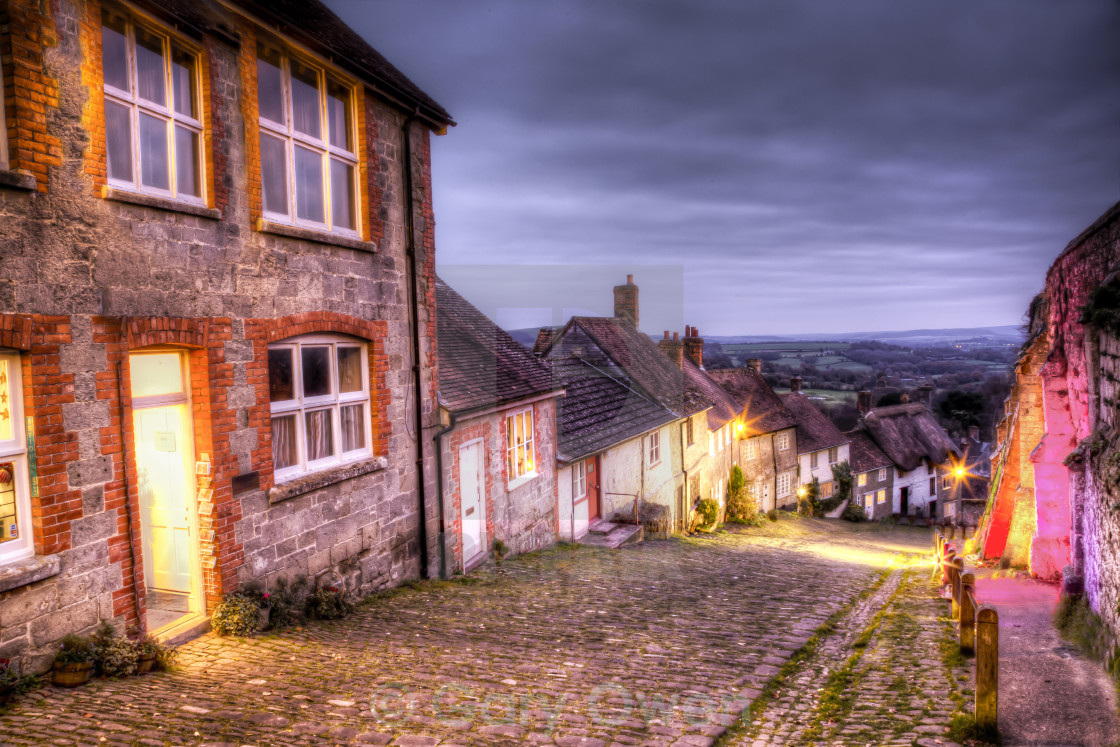 """Gold Hill at xmas"" stock image"