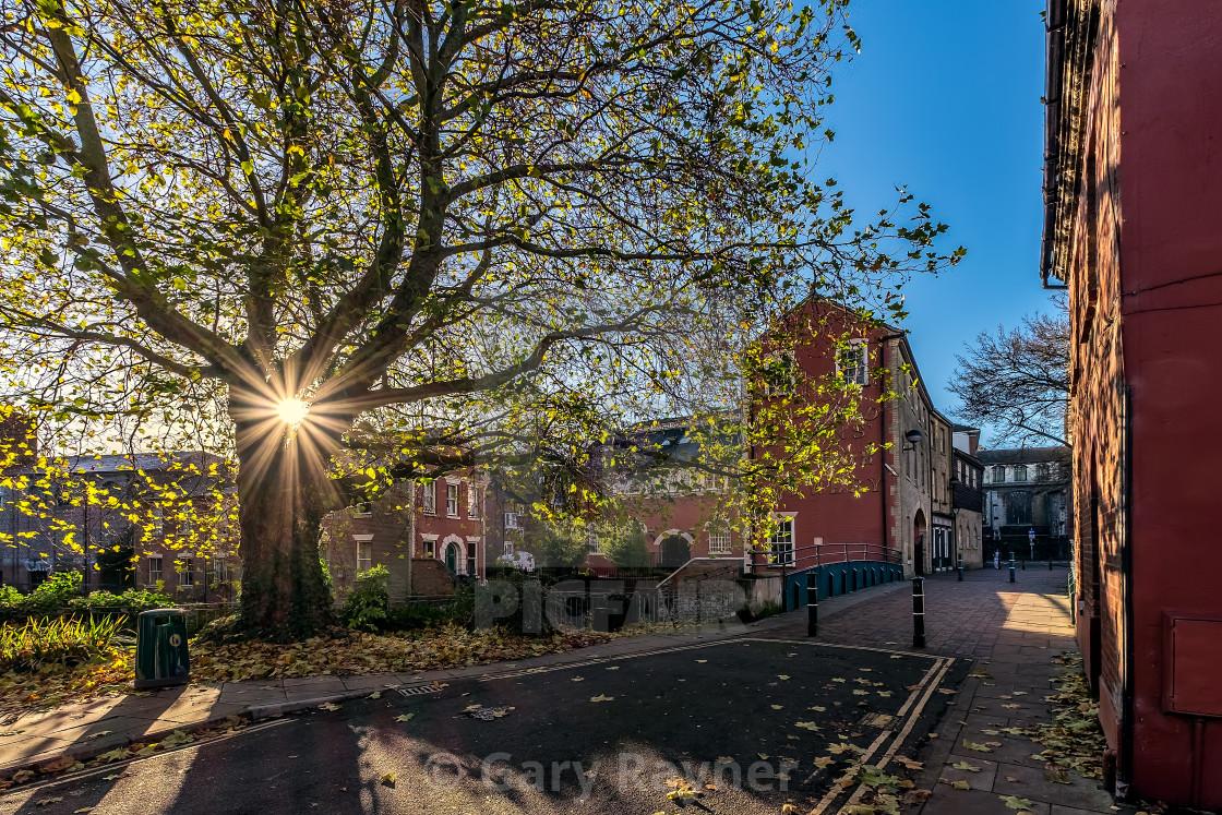 """Sun Rising in Norwich"" stock image"