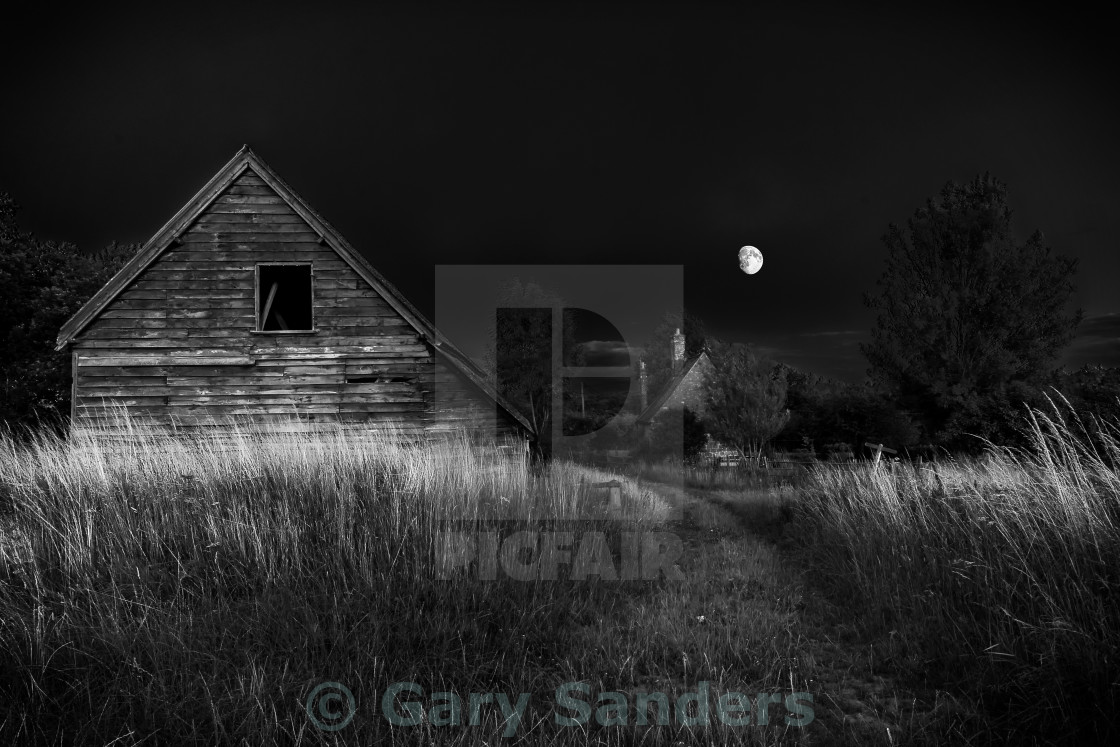 """Moonlit farm scene"" stock image"