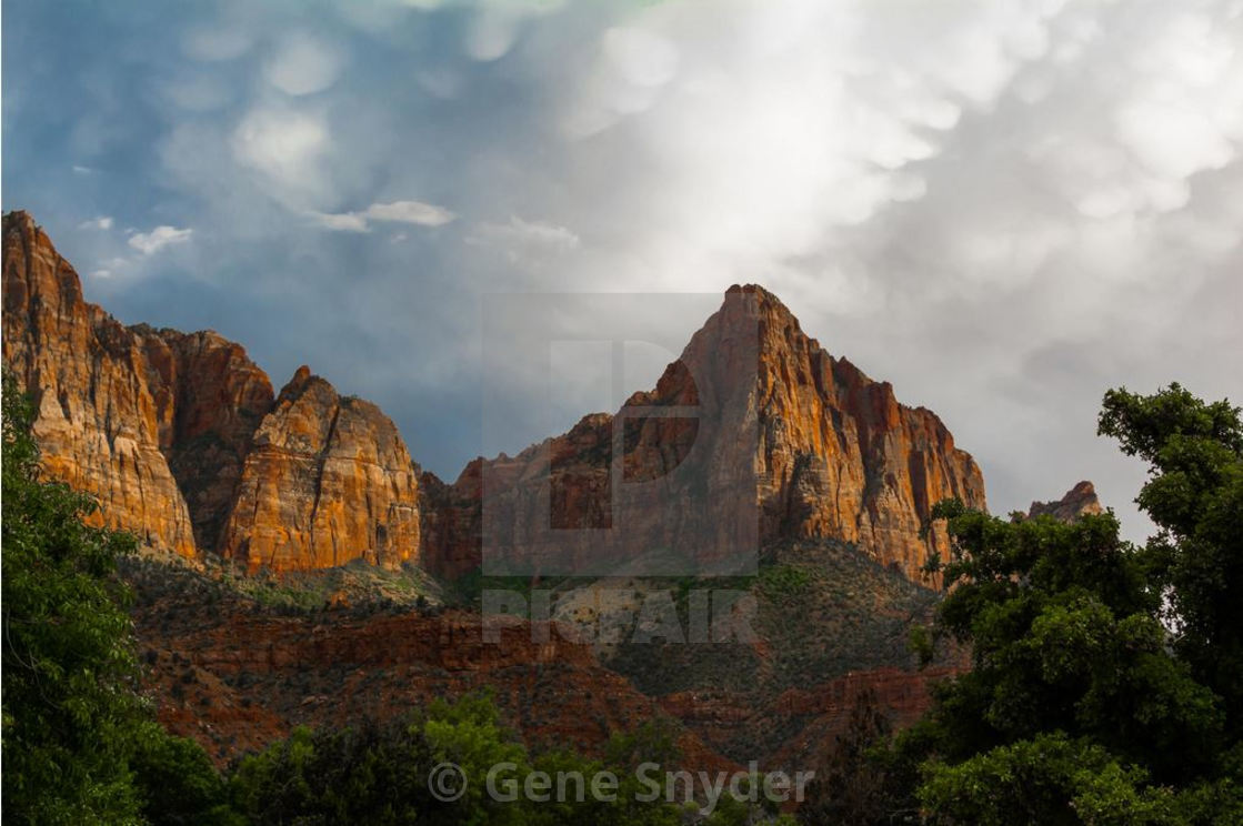 """the sunset at zion park"" stock image"