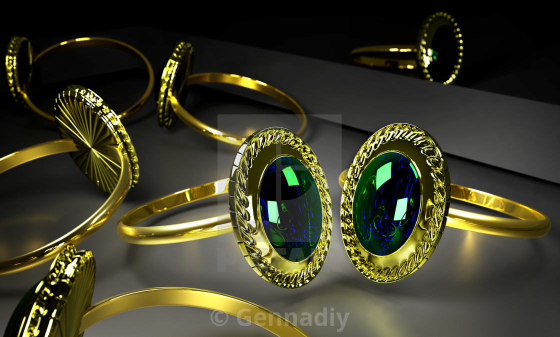 """""""Two engagement gold rings with gem in storefront."""" stock image"""