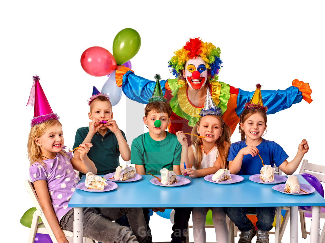 Birthday Child Clown Playing With Children Kid Holiday Cakes Celebratory Stock Image
