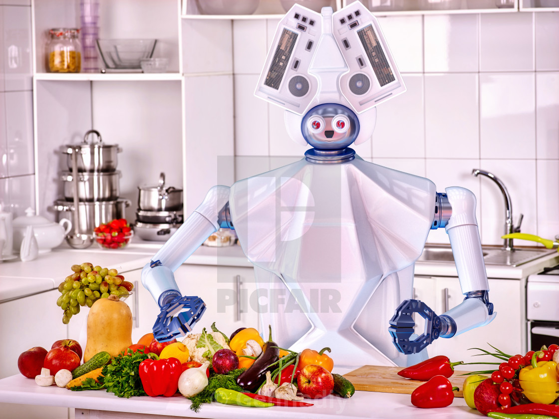 """""""Robot domestic assistance cook vegetarian food at kitchen."""" stock image"""