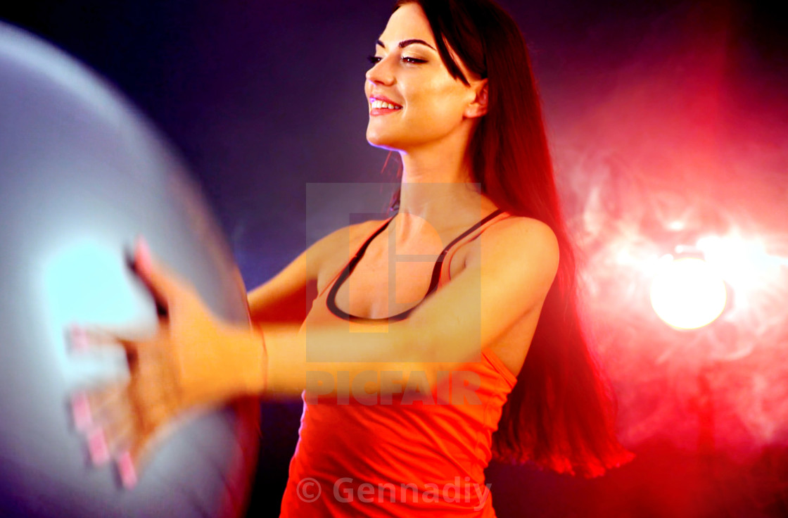 """""""Fitness girl exercising in gym with fitball."""" stock image"""