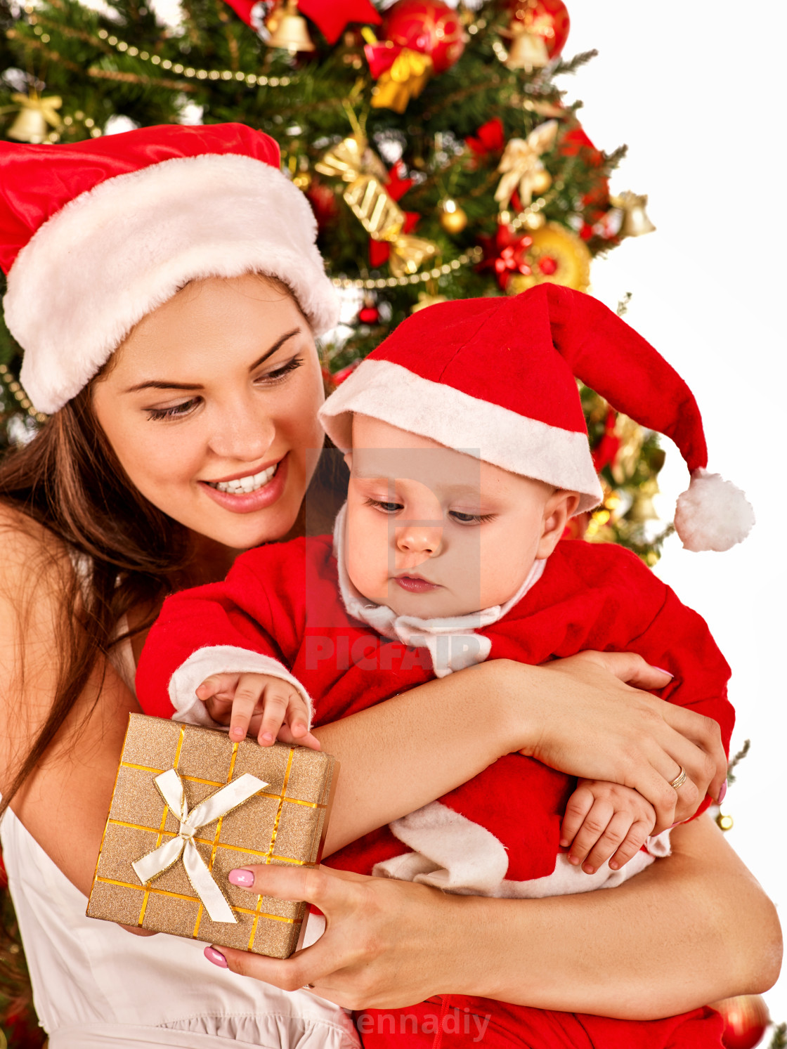 """""""Happy Christmas family mother and son open gift box."""" stock image"""