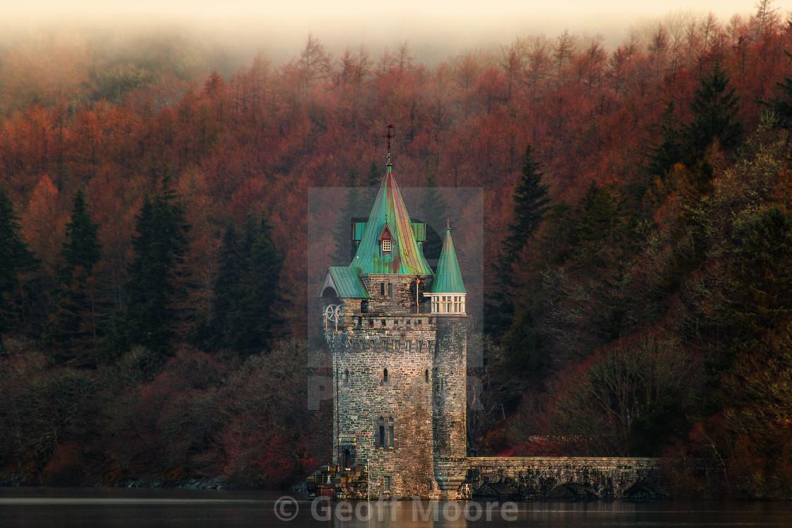 """The 'Princess Tower' - Lake Vyrnwy Wales"" stock image"