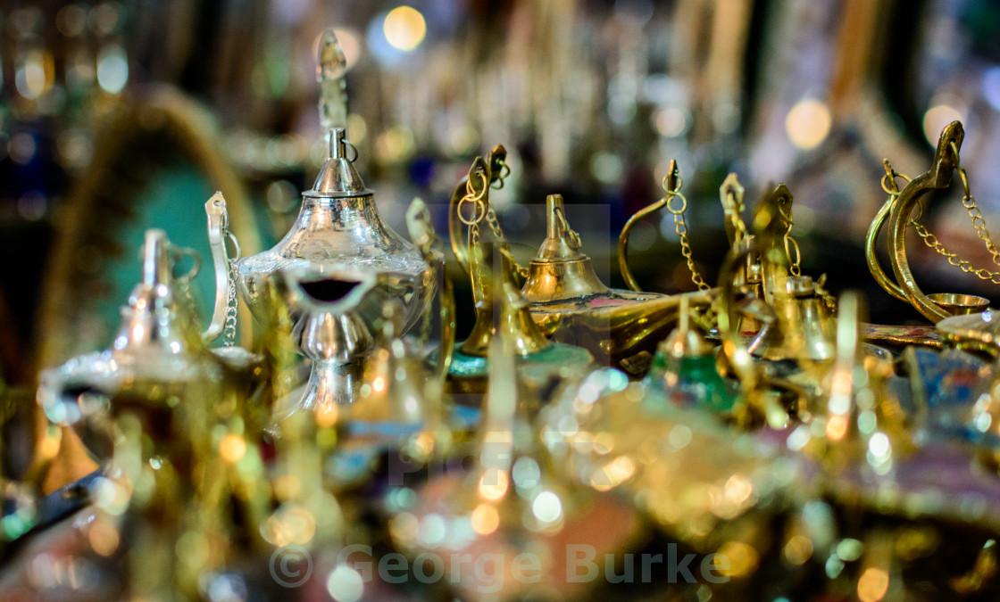 """Marrakech Teapots and Lanterns"" stock image"