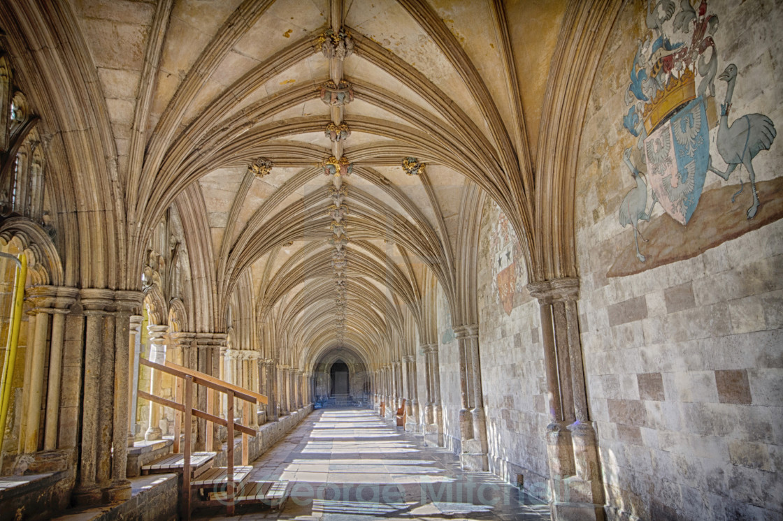 """Cloisters at Norwich Cathedral, Norwich, Norfolk, United Kingdom"" stock image"