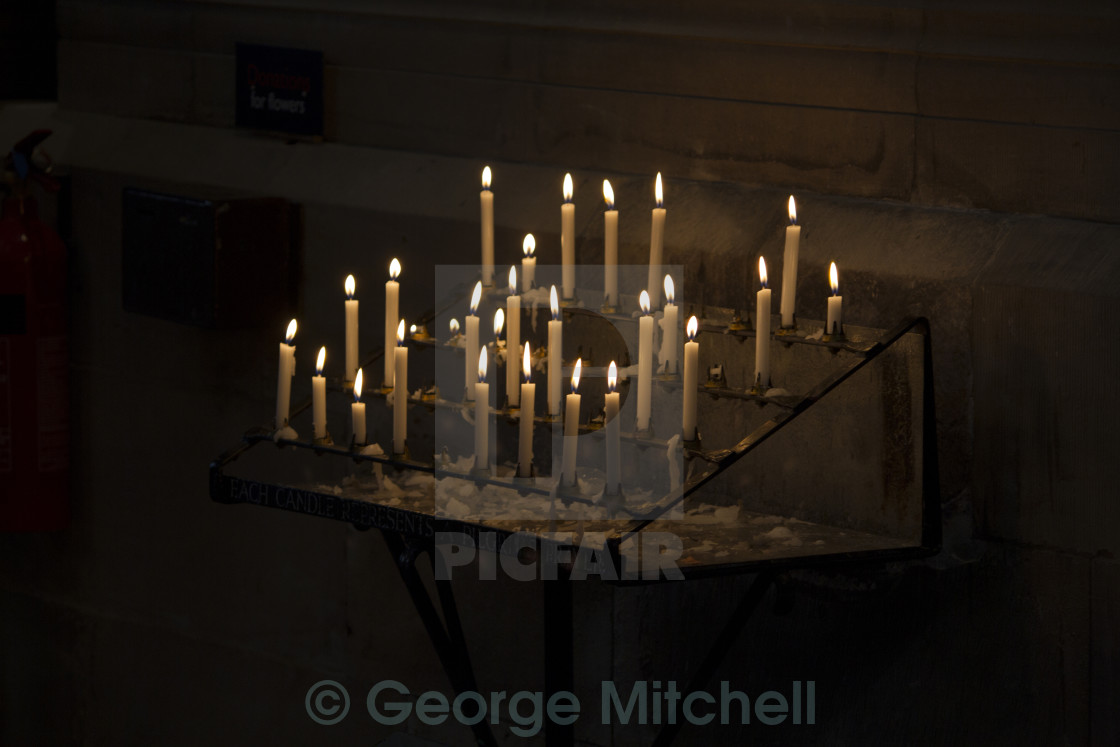 """Prayer Candles in Hereford Cathedral. UK"" stock image"