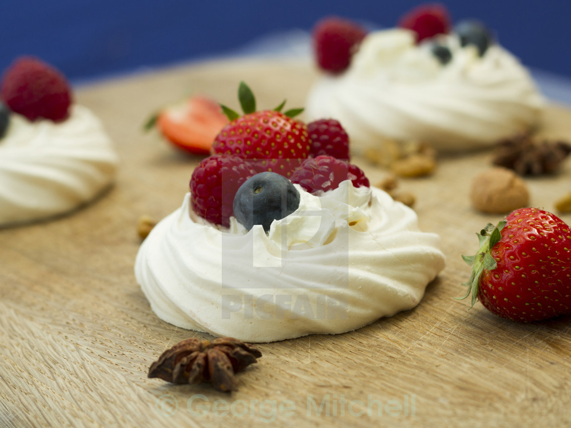 """""""Merangue with fruit selection"""" stock image"""