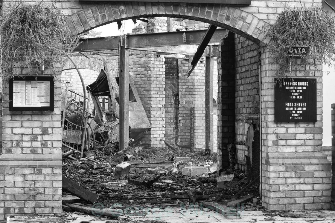 """Restaurant Fire, Hartford Marina, Huntingdon, Cambridgeshire, Un"" stock image"