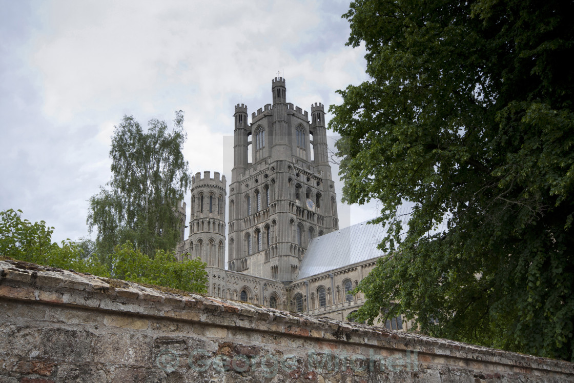 """""""West view of Ely Cathedral, Cambridgeshire, United Kingdom"""" stock image"""