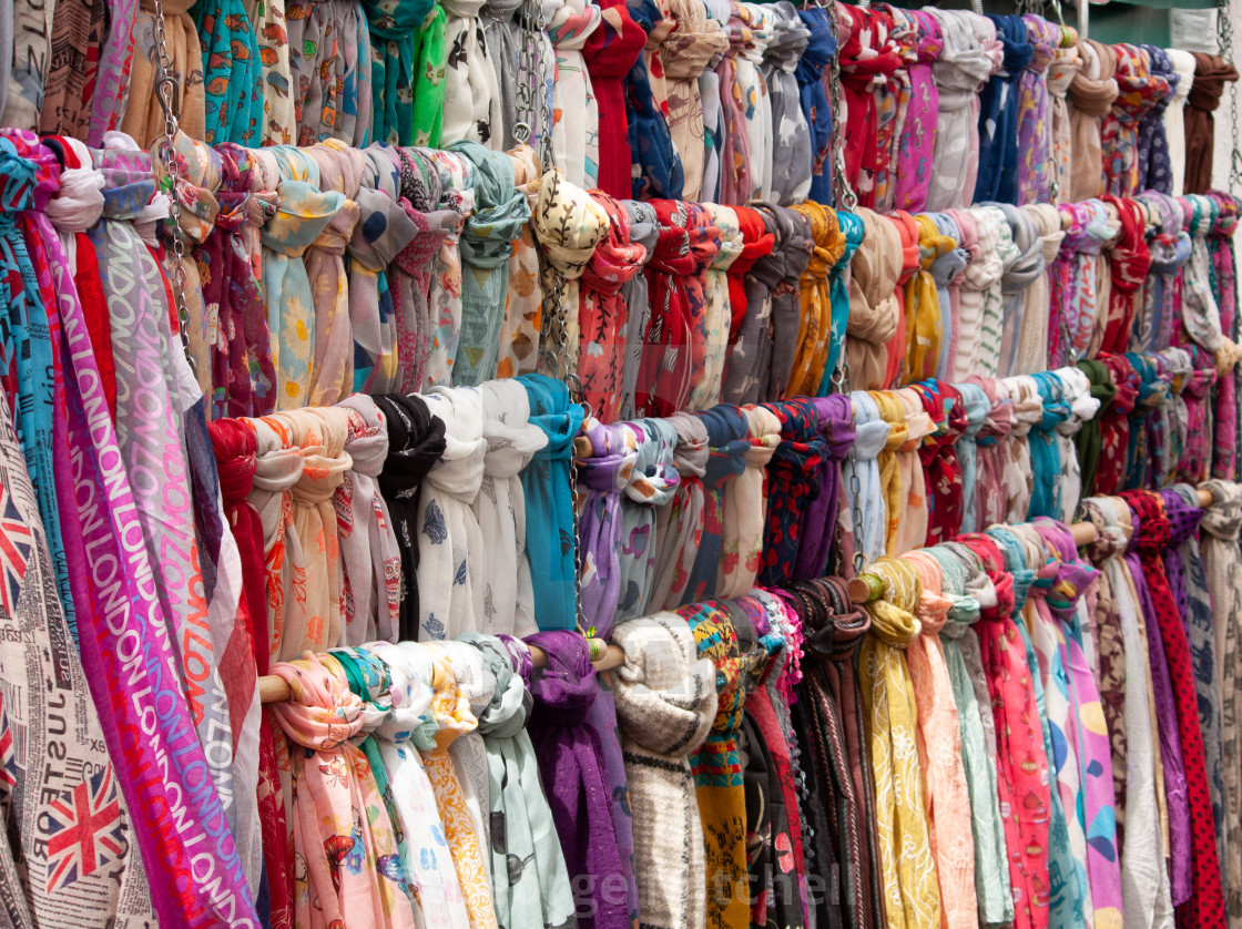 """Scarves in colour, Cambridge, UK"" stock image"