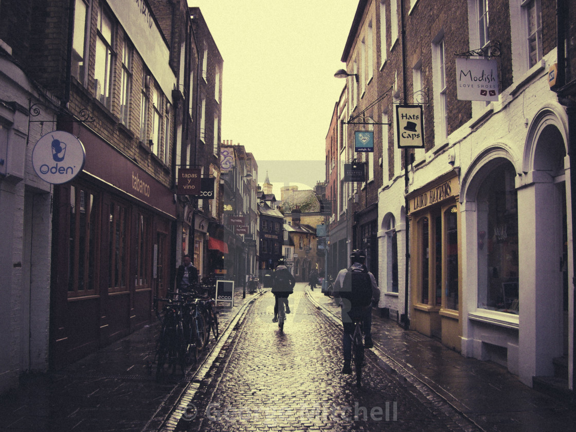 """Cambridge Streets on very dull day"" stock image"