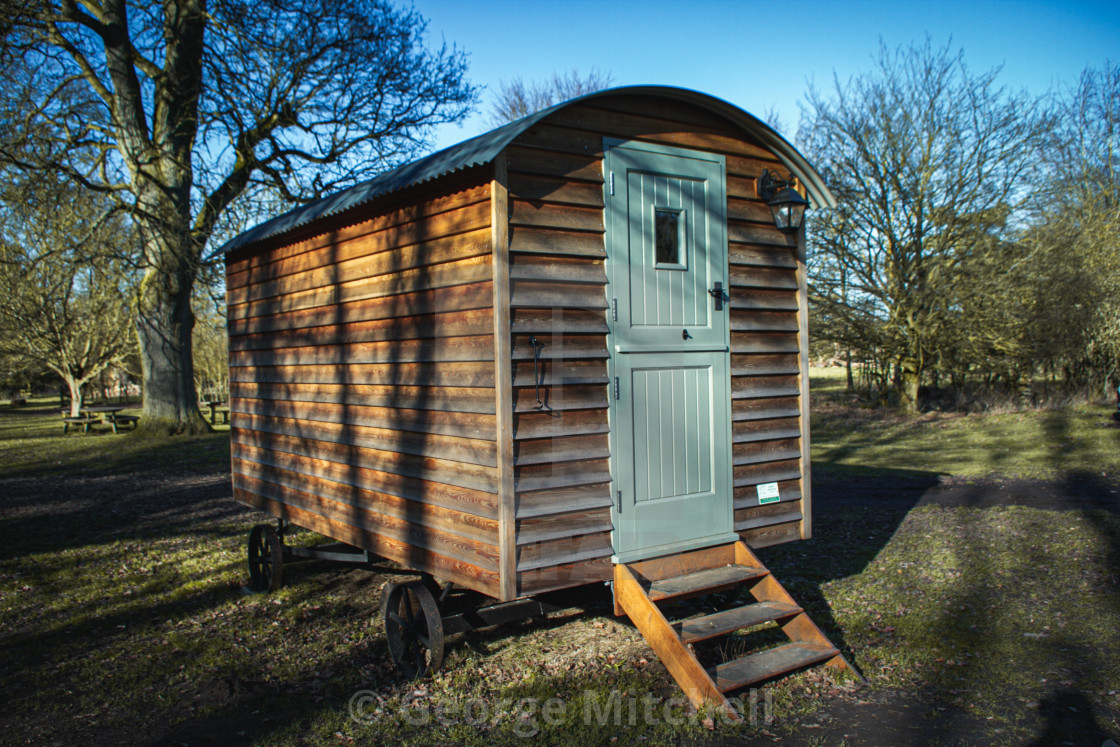 """A shepherds Hut for a weekend retreat"" stock image"