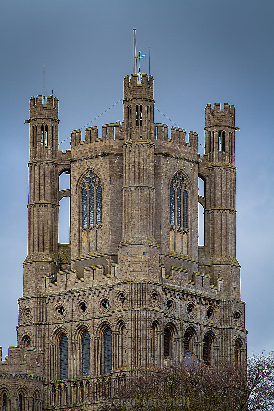 """West view of Ely Cathedral in The Fens, UK"" stock image"