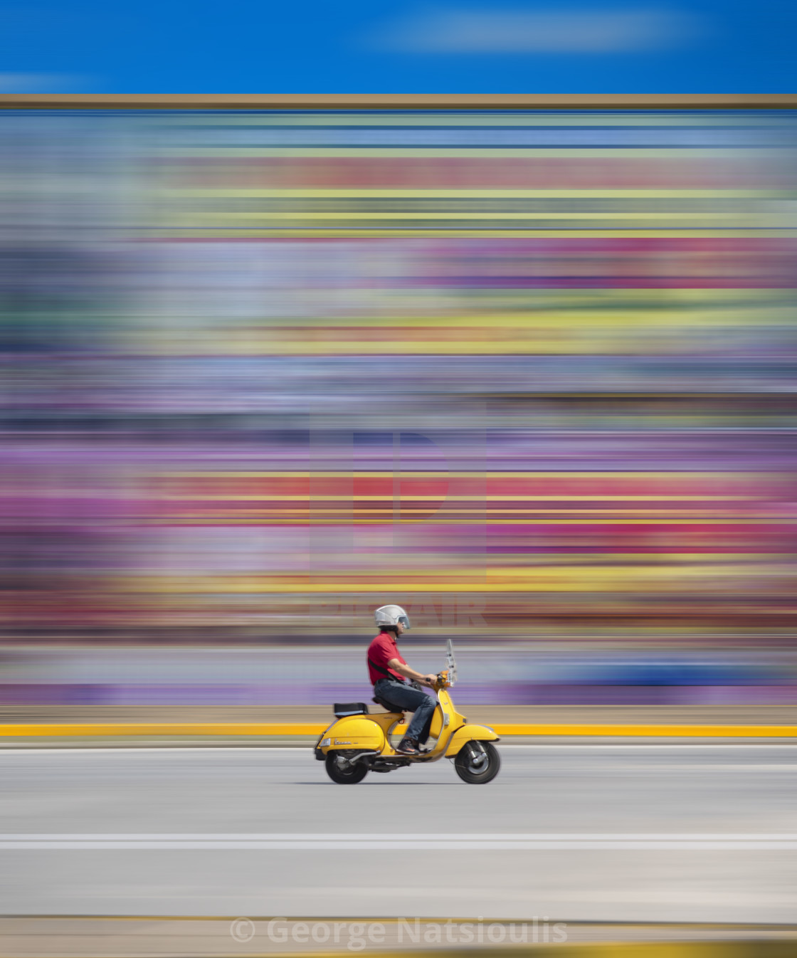 """The Yellow Vespa"" stock image"
