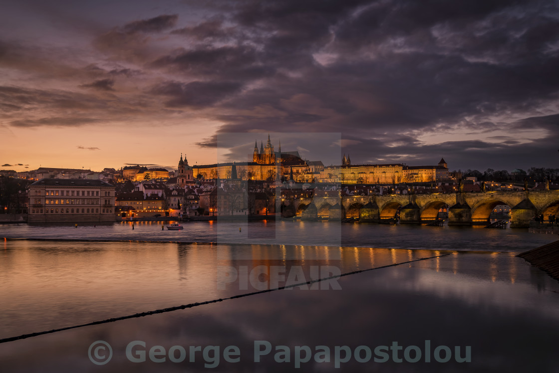 """Prague in twilight"" stock image"