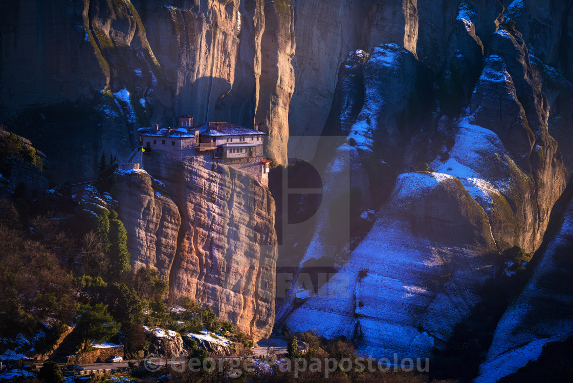 """Winter in Meteora"" stock image"