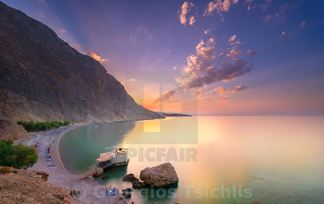 """Glyka Nera beach, Chania, Crete."" stock image"