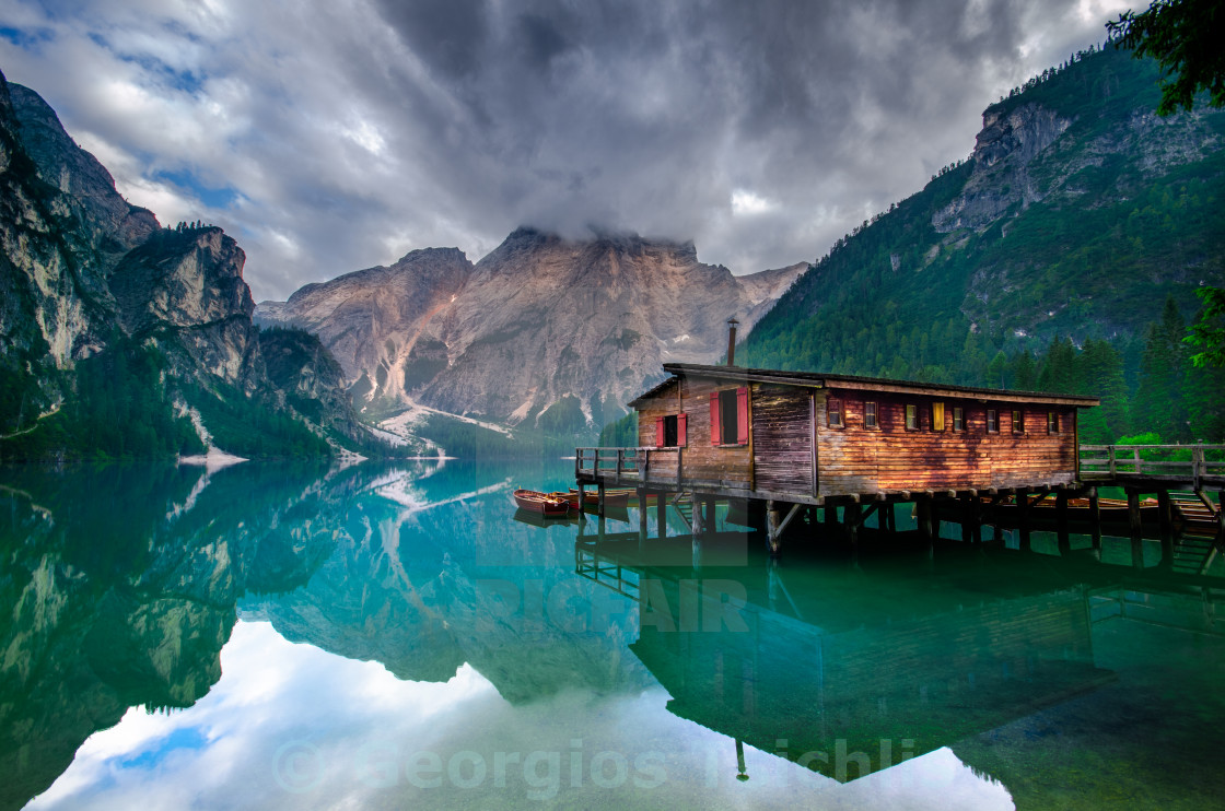 """Lago di Braies, South Tyrol,Italy,Europe"" stock image"