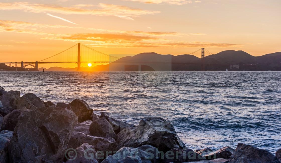 """Golden Gate Bridge Sunset"" stock image"