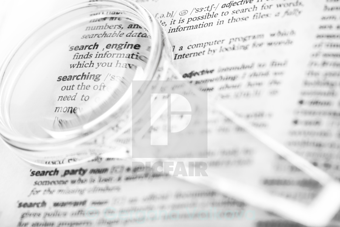 Dictionary definition of the word search, searching, search engi