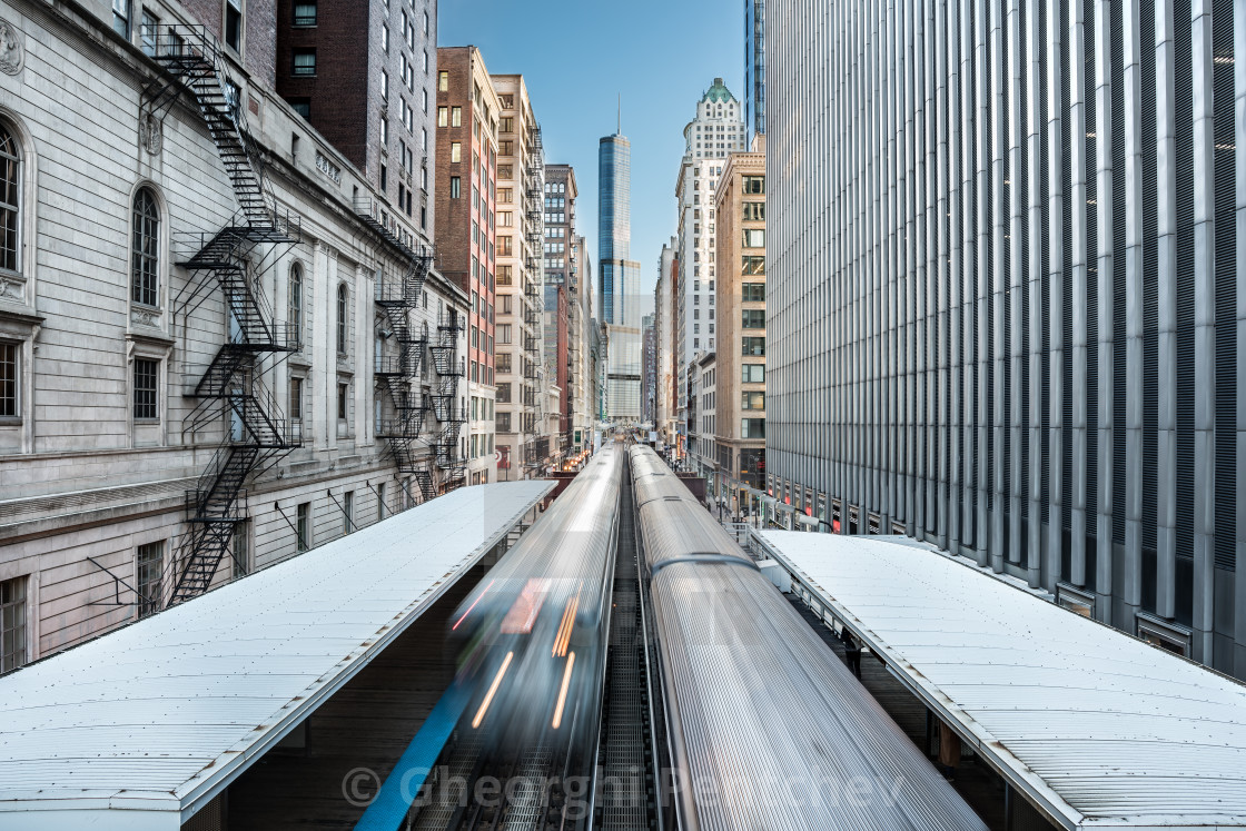 """Cityscape over the metro railway in the Loop district, Chicago, Illinois, United States"" stock image"