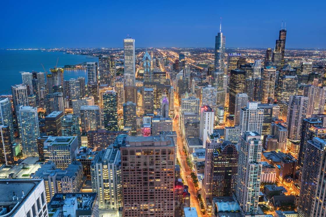 """Chicago skyline at the blue hour, Illinois, United States"" stock image"